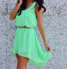 Mint green spring dress