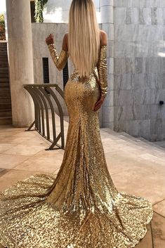 Sparkly Sequins Off Shoulder Sexy Slit Backless Mermaid Prom Dresses, - Mermaid Dresses Sweet 16 Dresses, Elegant Dresses, Sexy Dresses, Beautiful Dresses, Evening Dresses, Formal Dresses, Dance Dresses, Gold Evening Gowns, Beautiful Life
