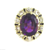 Estate Vintage 3.00CT Fine Amethyst & Diamond Crown Style Cluster Ring 14K YG #Handmade #ClusterBallerina