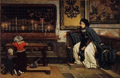 Marguerite in Church, 1860 by James Tissot. Realism. genre painting. National Gallery of Ireland, Dublin, Ireland