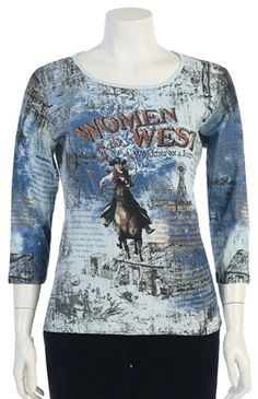 "Women of the West T-shirt is perfect for any true Cowgirl.  In a bright blue print in an Old West style this t-shirt has a round neck and 3/4 sleeve with studded rhinestones.  Perfect with Denim outfits.  This printed cotton top is pre-washed.  100% cotton.  Hand wash cold.  Made in USA.For a better fit refer to Katina Marie's size chart under ""Size Chart"""