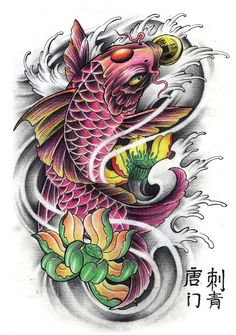 koi fish lotus flower tattoos - Buscar con Google                                                                                                                                                                                 Más