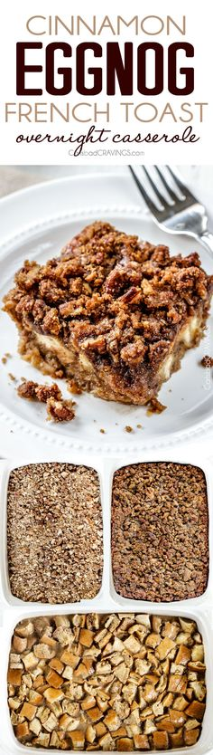 Easy Overnight Cinnamon Eggnog French Toast Casserole all prepared in advance makes it perfect for Christmas or special occassion breakfast. And the Brown Sugar Pecan Crumble is amazing! Seriously the best French Toast Casserole ever!
