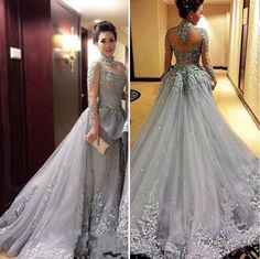Long Sleeve Lace A Line Illusion prom dresses new style fashion evening gowns  for teens 105f7a7f6