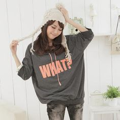 """What?"" Print Loose-Fit Hooded Pullover from #YesStyle <3 eFashion YesStyle.com"