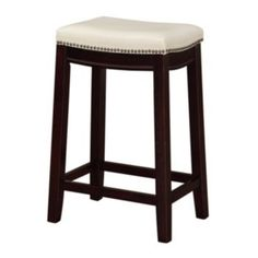 """$59.99 (30% off makes it $42.00) Regular $129.99 Allure Counter Stool 24""""H x 18""""W x 12""""D 24-in. seat height Weight capacity: 200 lbs. Rubberwood/polyurethane"""