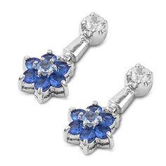 Glynis's Blue Topaz Flower Drop Cubic Zirconia Silver Dangle Earrings #CubicZirconia