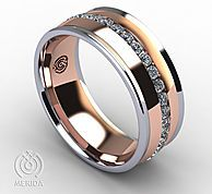 Unique mens wedding bands designed by Esperanza Merida using 18k white, yellow, rose and two-tone gold and platinum in Houston Texas