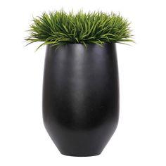 Faux Florals - Large Modern Faux Grass In Black Pot