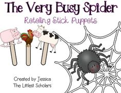 The Very Busy Spider Stick Puppets...great for retelling!