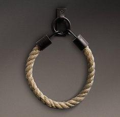 RH's Dakota Natural Rope Tieback - Chestnut: Substantial tieback of rustic hemp rope adds natural texture to a range of drapery.