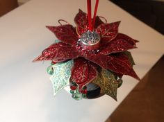 Red glitter with green  gold and silver by Ornamentsbysusan