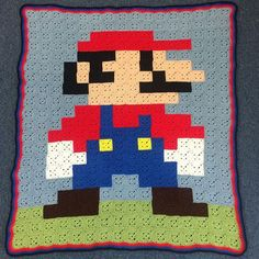 Mario pixel crochet blanket by  grayfyre