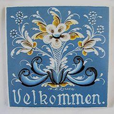 Scandinavian Velkommen Ceramic Trivet Tile #rosemaling