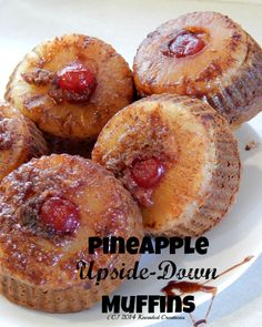 Quick & easy pineapple unpside down muffins.