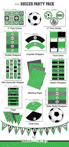 This green and black soccer party listing includes a mini DIY printable party kit! This listing is for DIGITAL files. No printed materials will