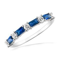 14K Gold Diamond Anniversary Wedding Ring 4 Blue Baguette Sapphires and 5 Round Brilliant 0.57ctw
