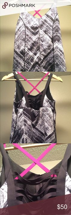Gorgeous condition lululemon tank! With sports bra built in but no padding. Pretty ballerina type straps in the back, crisscrossing. This is a thick stretchy fabric that is great for running or yoga because it won't pull up. Meant to be tight. Fits a 6 or 8. No tags, I cut them off because they were itchy but you can see the lululemon emblem on the side and it is an 8. Only hand washed and never dried. Worn only a few times. lululemon athletica Tops
