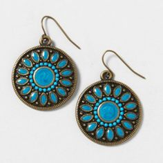 CLAIRES - TURQUOISE AND GOLD DISC DROP EARRINGS  $7.00