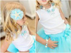 Mermaid Party - starfish hair bow, aqua tutu, white tank top and faux pearl jewelry  from: thetomkatstudio.com