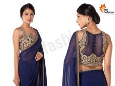 Navy Blue Saree In Adorn Georgette. #zenfashions  WhatsApp / Call - +91 9987244208  http://zenembroideryhub.com/  - Featuring In Georgette - Embellished In Beads, Stone And Sadi Work. - Matched With Heavy embroidered In Blouse.  #navyblue #saree #georgette #embellished #stone #border #beads #sadi #blouse #sareelove #shopping #mumbai #look #beauty #glam #shop #love #women #style #embroidery #work #gold