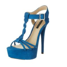 """Rachel Zoe Blue Suede Platform Sandals Strappy and braided buttery soft geniune suede upper lining and sole. T-strap style. Made from imported Italian leather. 6"""" covered heel and 2.5"""" platform. Brand new, never worn. In original box with branded dust bag. US size 10. Rachel Zoe Shoes Platforms"""