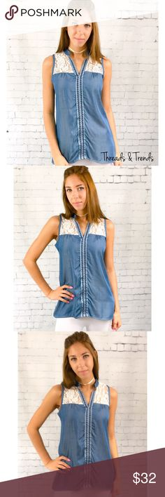 LAST ONE SALE! 🌸Chambray & Lace Blouse Beautiful chambray & lace Sleeveless blouse. Features lace on the bust area. Perfect and light weight for spring.                                 Measurements: FINAL PRICE NO EXTRA DISCOUNTS Small  Bust: 42 Length: front 25.5 / back 31  Medium  Bust: 44 Length: front 26 / back 31  Large  Bust: 46 Length: front 27 / back 32  Fabric content: 100% rayon Tops Tank Tops