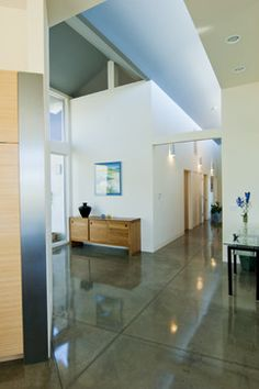 white walls + Concrete Floor Design, Pictures, Remodel, Decor and Ideas
