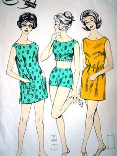 Vintage 1960s Le Roy British Mod Beach Sewing by FoxVintageUk