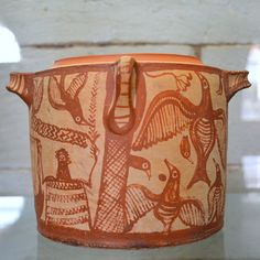 LM IIIB pyxis with lyre-player from Kalami (2)     With decoration including a robed man holding a lyre or cithara in a field with birds, horns of consecration, and double-axes. Interpretations of the male figure have included a singer, a priest, Apollo, and Orpheus.   See the Ministry of Culture page (possibly only available via the Google cache).   From a chamber tomb at Kalami loc. Koiliaris near ancient Aptera (Pleiades, Wikipedia.   Late Minoan IIIB period, ca. 1300-1250…