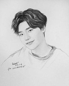 Kpop Drawings, Art Drawings Sketches, Pencil Drawings, Lee Jong Suk Cute, Lee Jung Suk, Unique Drawings, Colorful Drawings, Desenhos Halloween, Kang Chul