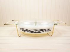 Vtg Pyrex Divided Casserole Dish Barbed Wire Promo 1 5 Qt Black White Cradle | eBay