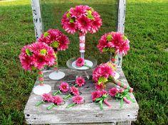 gerbera daisy wedding bouquet set.