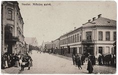 Milicijos Street in Siauliai, before the war. Jews first settled in Siauliai during the 17th century. By the beginning of the 20th century Jews constituted over half of the city's population. Before the Second World War, Siauliai was home to some 6,600 Jews.