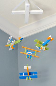 BiPlane Airplane Baby Mobile - Let's Fly Away - Orange White Lime Green Calypso Blue