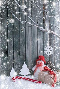 Grey Wood Christmas Snowflake Backdrops