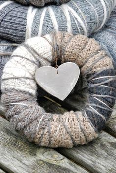 Woolen Wreaths and Re- Launching my Handmade Shop! They are lovingly made with upcycled sweaters and wool yarn, at times paired with plaid woolen fabrics and vintage or antique lace scraps. for cold winter days Wreath Crafts, Diy Wreath, Yarn Crafts, Small Wreath, Xmas Wreaths, Door Wreaths, Noel Christmas, Christmas Crafts, Giant Wall Art