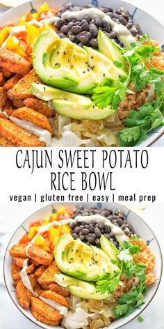 Super easy to make and incredibly satisfying: This Cajun Sweet Potato Rice bowl is naturally vegan, gluten free and infused with all the best cajun flavors. An amazing dinner, lunch, meal prep, work… Tasty Vegetarian Recipes, Vegan Dinner Recipes, Vegan Dinners, Veggie Recipes, Whole Food Recipes, Cooking Recipes, Easy Vegan Lunch, Vegan Lunches, Cheap Dinners