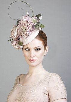 Rachel Trevor Morgan Millinery SS 2016 | R1698 - Soft pink silk pillbox with hand made flowers, feather quills and bow