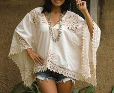 Vintage Womans Blouse with Lace. Comfortable Measurements: Free Size Bust: 57 Around Length: 23