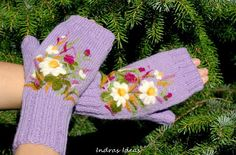 Fingerless with felted flowers, Mittens, Hand Knitted, Eco Friendly, Christmas gift gloves