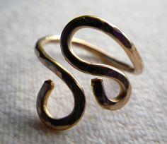 Gold double swirl ring by silversunstudiobiz on Etsy, $26.00
