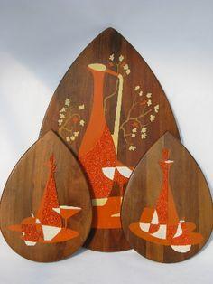 Danish modern vintage walnut wood wall plaques w/ orange bottles, 60s retro!