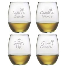Life's a Beach Stemless Wine Glasses