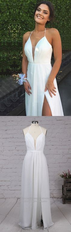 Modest Formal Dresses White, Long Prom Dresses With Slit, A Line Graduation Dresses For Teens, Elegant Military Ball Dresses Chiffon Modest Formal Dresses, Sparkly Prom Dresses, Prom Girl Dresses, Simple Prom Dress, Formal Dresses For Teens, Prom Dresses 2018, Evening Dresses, Prom Gowns, Party Dresses