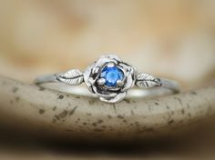 Blue Sapphire Delicate Rose by MoonkistGallery