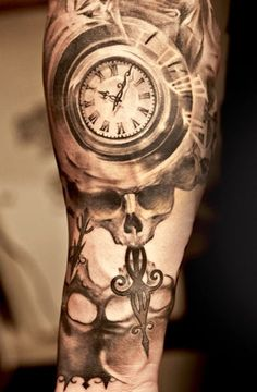 Skull and watch tattoo by Niki Norberg
