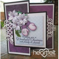 Heartfelt Creations - Purple Mittens And Poinsettias Project
