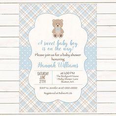 Teddy Bear Baby Shower Invitation Boy, Baby Boy Teddy Bear Blue Brown Vintage Baby Shower Invitation, Digital JPEG PDF Printable by DesignedbyGeorgette on Etsy https://www.etsy.com/listing/241519267/teddy-bear-baby-shower-invitation-boy