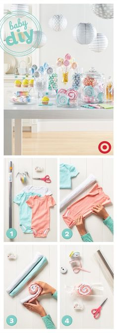 """Here's a sweet DIY idea for the next baby shower you throw. Turn newborn bodysuits into """"candies"""" in a few simple steps. Find everything you'll need, wrapping paper, cellophane, ribbons and more, at T (Regalos Diy Ideas) Baby Party, Baby Shower Parties, Baby Shower Themes, Baby Shower Decorations, Shower Ideas, Bebe Shower, Baby Boy Shower, Baby Shower Gifts, Baby Shower Garcon"""